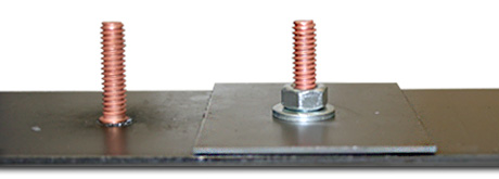 Steel plate with 2 studs welded to it, showing CD stud fastening.